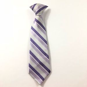 Boys Purple, Gray White Stripe Clip On Neck Tie